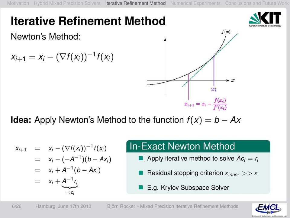i {z } =:c i In-Exact Newton Method Apply iterative method to solve Ac i = r i Residual stopping criterion ε inner