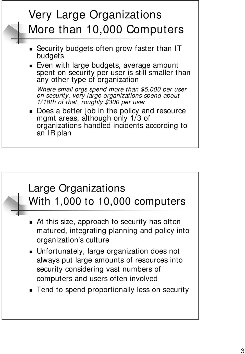 resource mgmt areas, although only 1/3 of organizations handled incidents according to an IR plan Large Organizations With 1,000 to 10,000 computers At this size, approach to security has often
