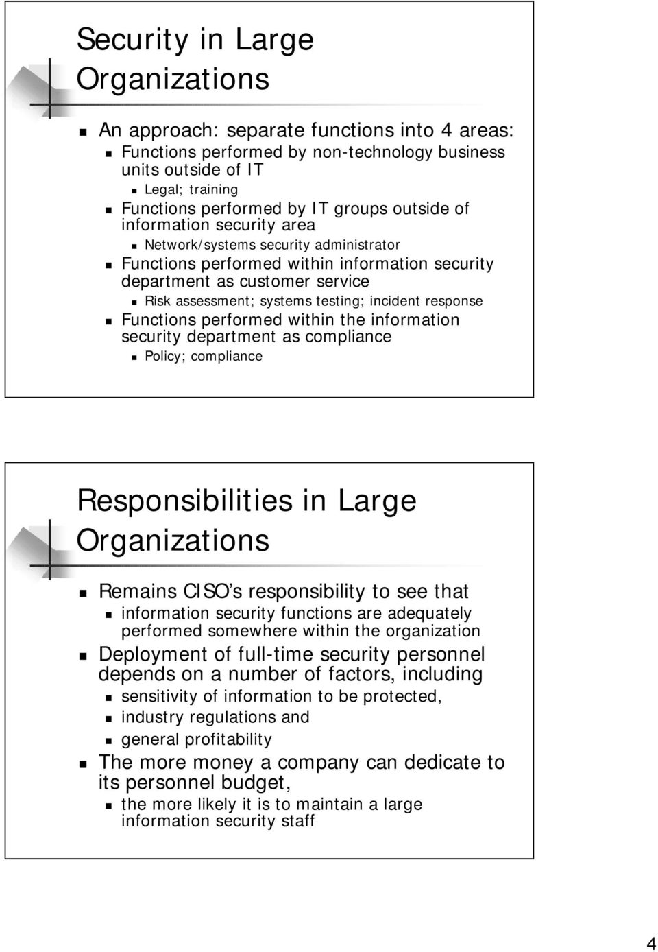 response Functions performed within the information security department as compliance Policy; compliance Responsibilities in Large Organizations Remains CISO s responsibility to see that information
