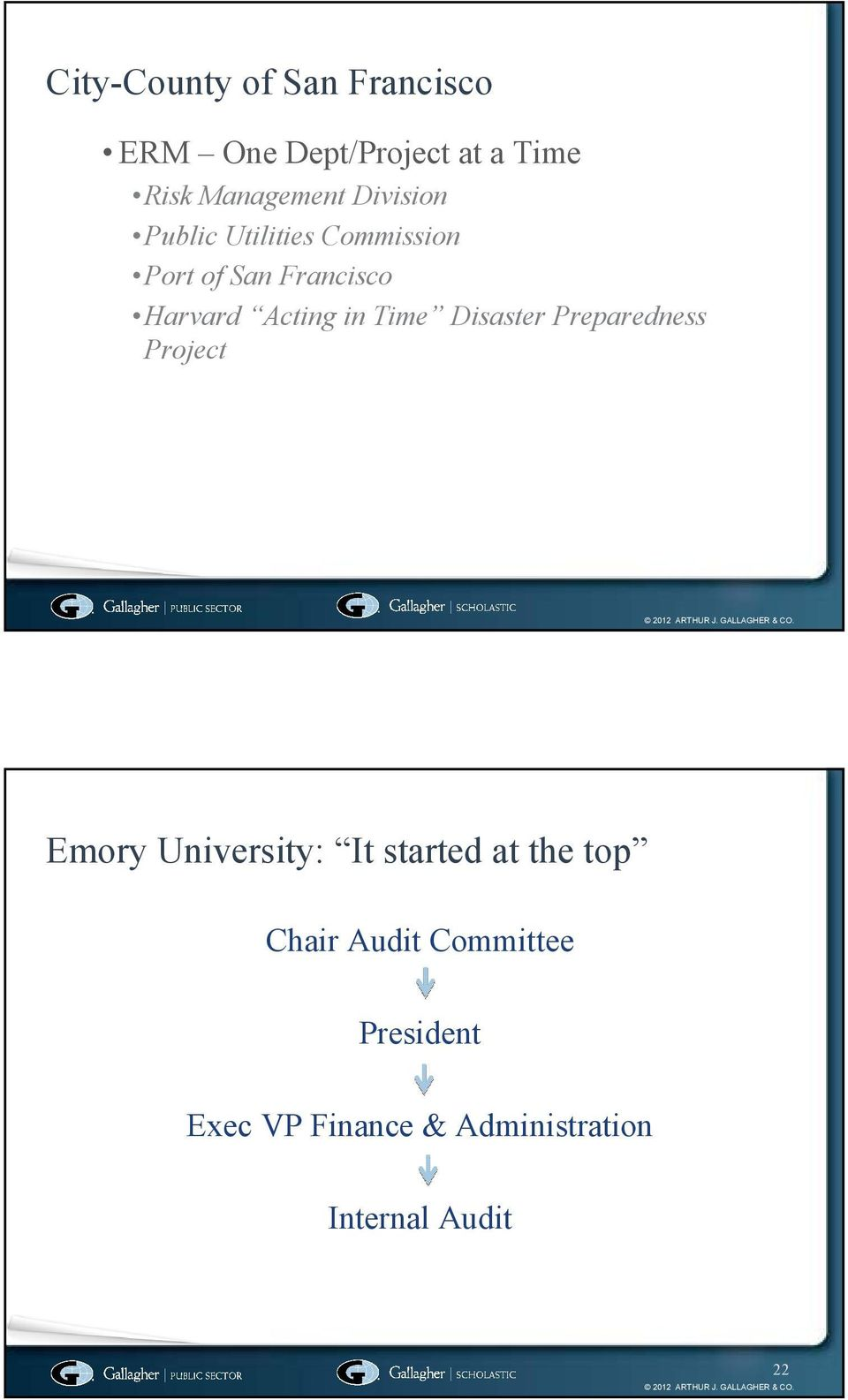 Time Disaster Preparedness Project Emory University: It started at the top