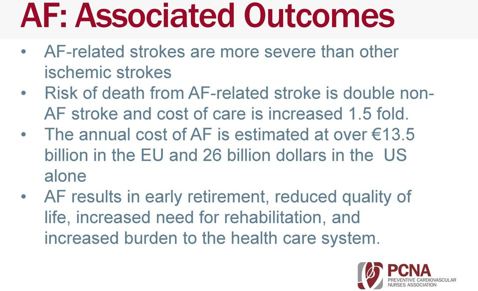 The annual cost of AF is estimated at over 13.