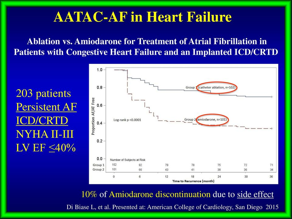 Failure and an Implanted ICD/CRTD 203 patients Persistent AF ICD/CRTD NYHA II-III LV