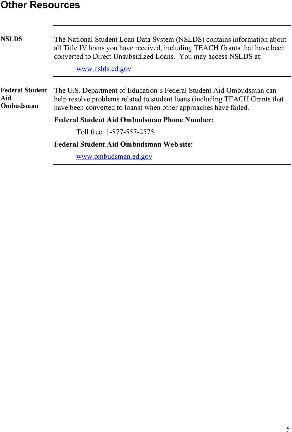 DS at: www.nslds.ed.gov Federal Student Aid Ombudsman The U.S. Department of Education s Federal Student Aid Ombudsman can help resolve problems related to