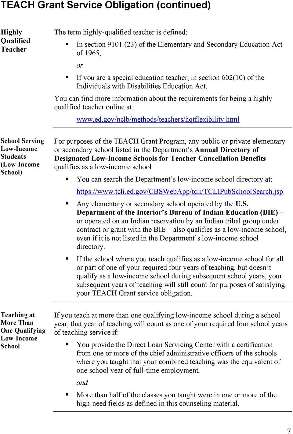 You can find more information about the requirements for being a highly qualified teacher online at: www.ed.gov/nclb/methods/teachers/hqtflexibility.