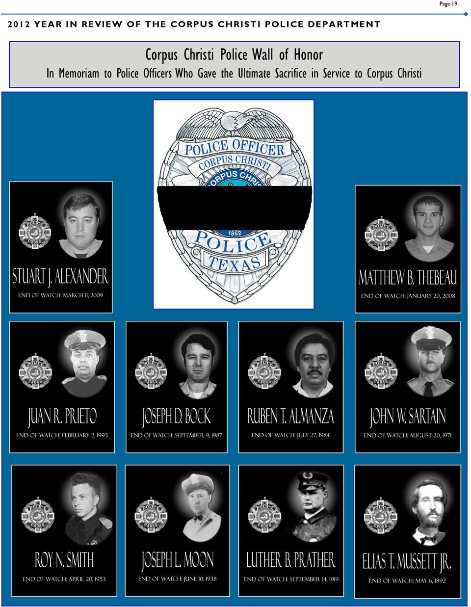Wall of Honor In Memoriam to Police Officers Who