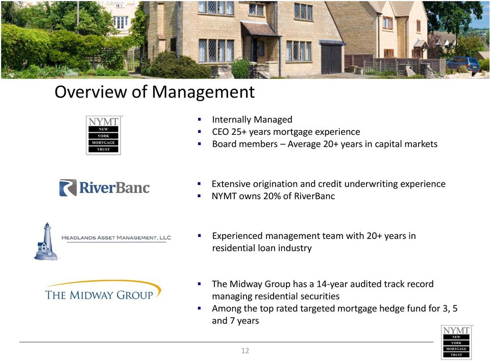 Experienced management team with 20+ years in residential loan industry The Midway Group has a 14 year