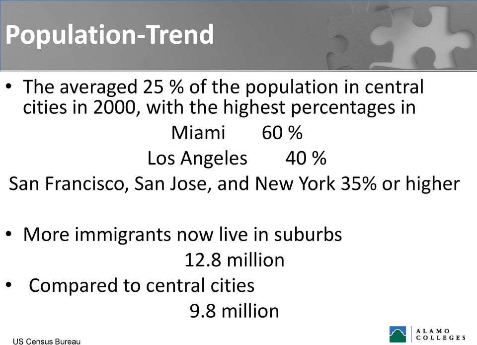 Francisco, San Jose, and New York 35% or higher More immigrants now live
