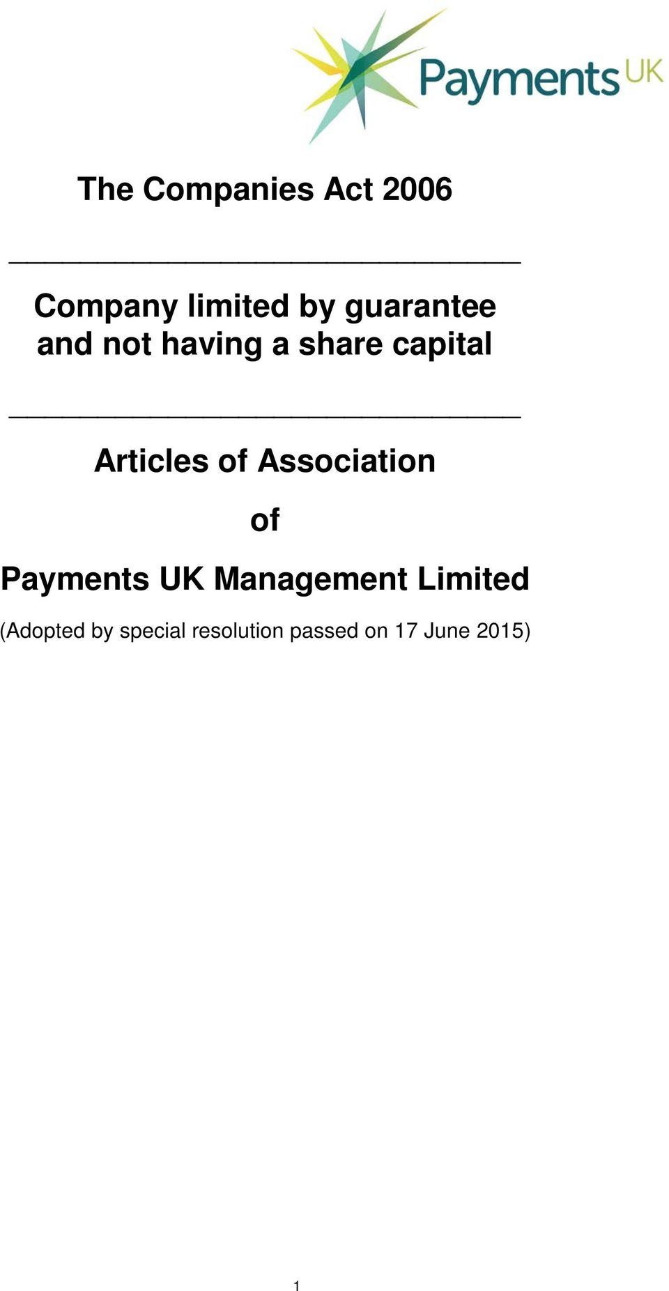 of Association of Payments UK Management Limited