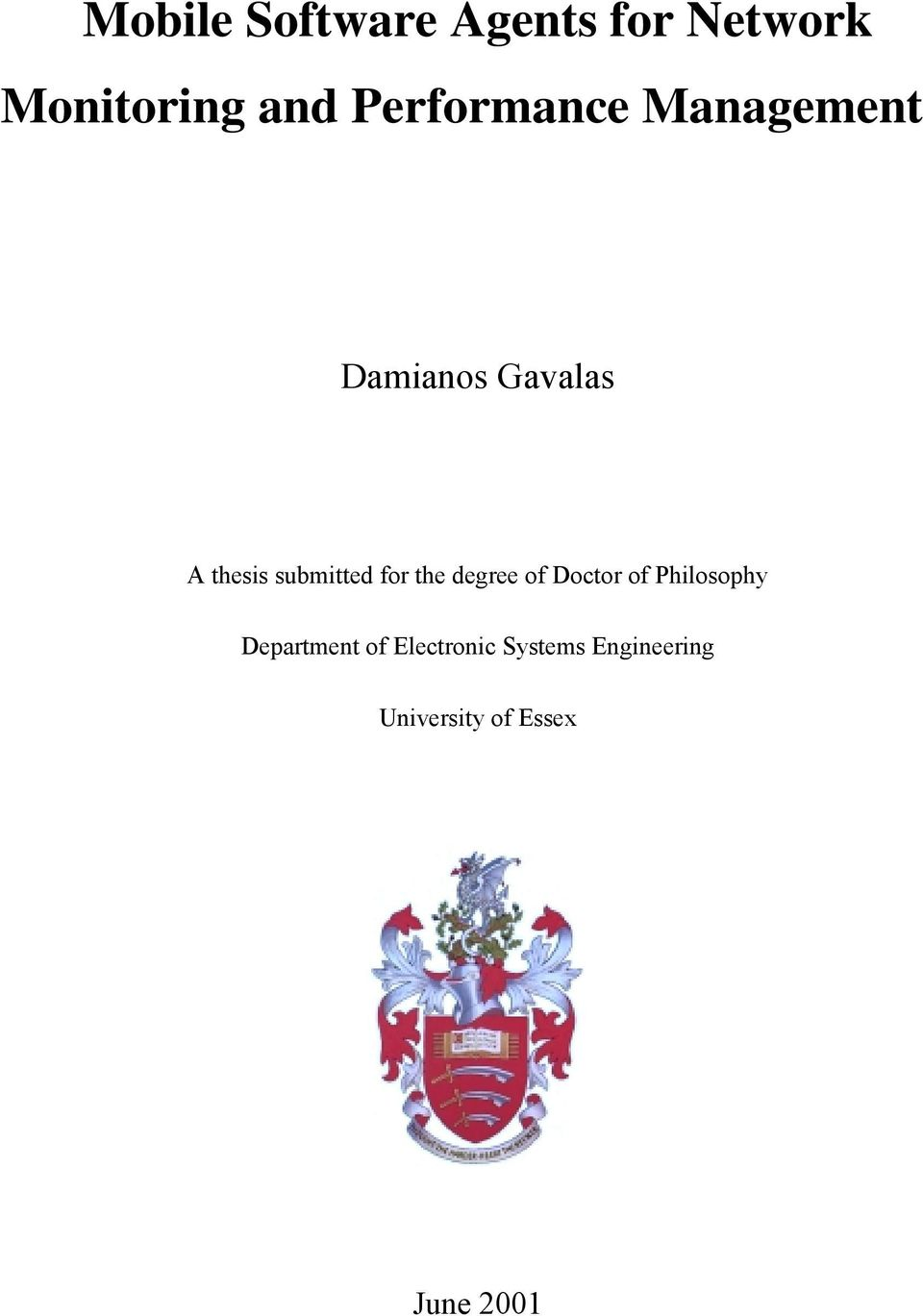 submitted for the degree of Doctor of Philosophy
