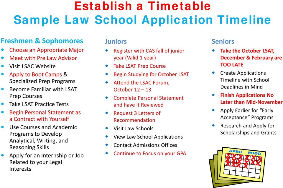 Analytical, Writing, and Reasoning Skills Apply for an Internship or Job Related to your Legal Interests Register with CAS fall of junior year (Valid 1 year) Take LSAT Prep Course Begin Studying for