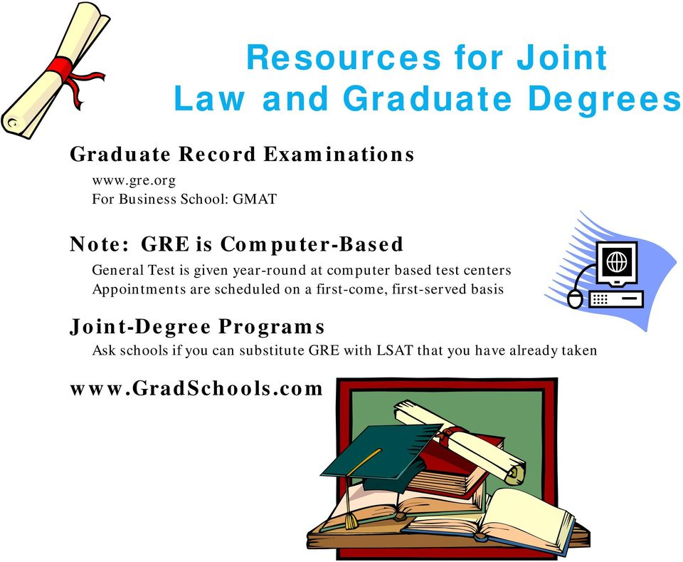 org For Business School: GMAT Note: GRE is Computer-Based General Test is given year-round at