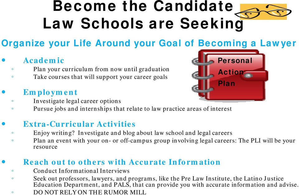 Investigate and blog about law school and legal careers Plan an event with your on- or off-campus group involving legal careers: The PLI will be your resource R h h i h A I f i Reach out to others