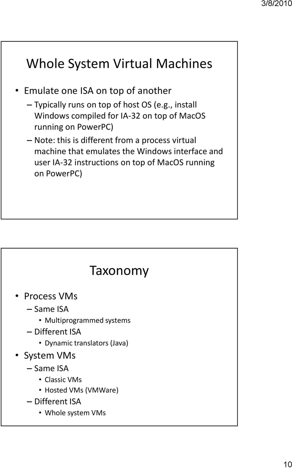 that emulates the Windows interface and user IA-32 instructions on top of MacOS running on PowerPC) Taxonomy Process VMs Same
