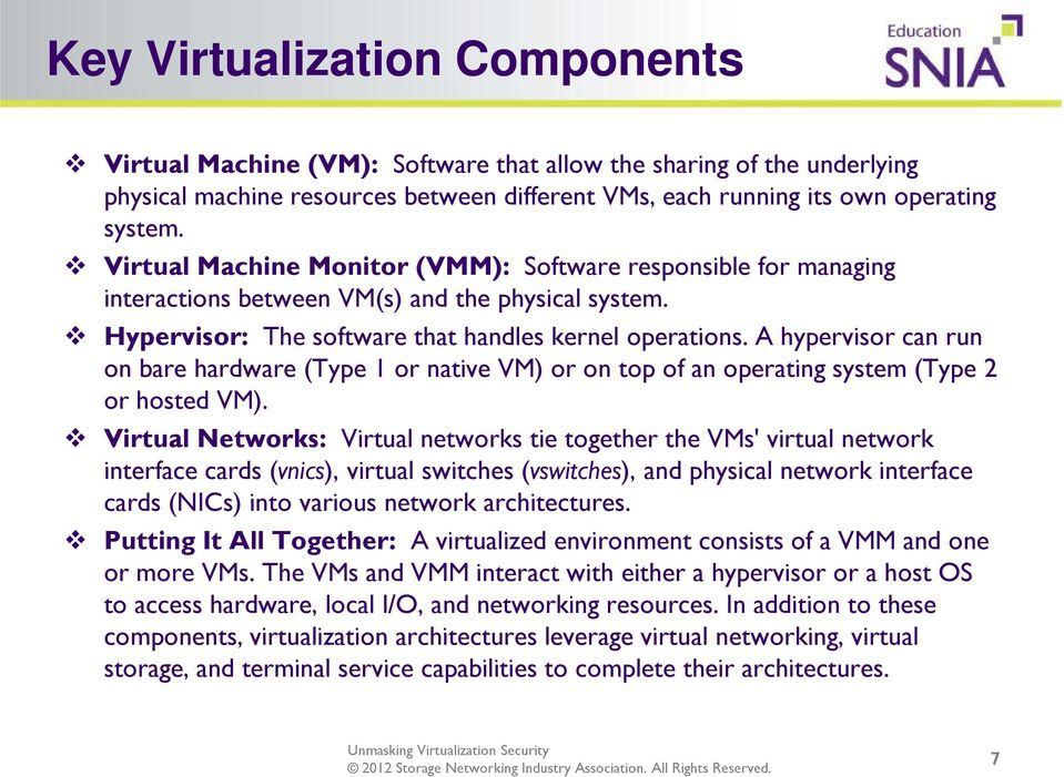 A hypervisor can run on bare hardware (Type 1 or native VM) or on top of an operating system (Type 2 or hosted VM).