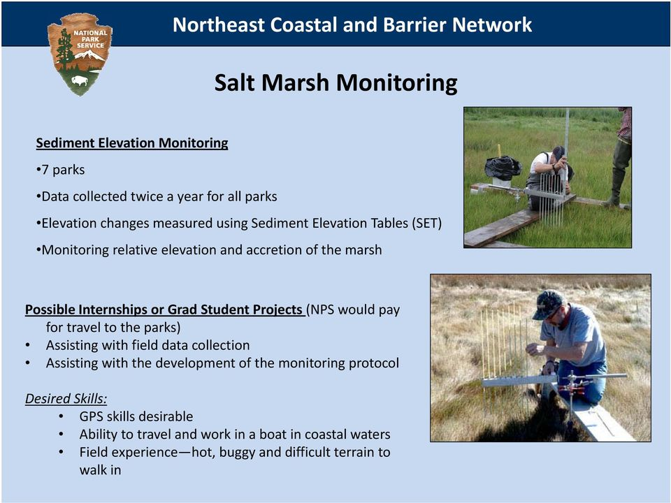 Grad Student Projects (NPS would pay for travel to the parks) Assisting with field data collection Assisting with the development of the monitoring