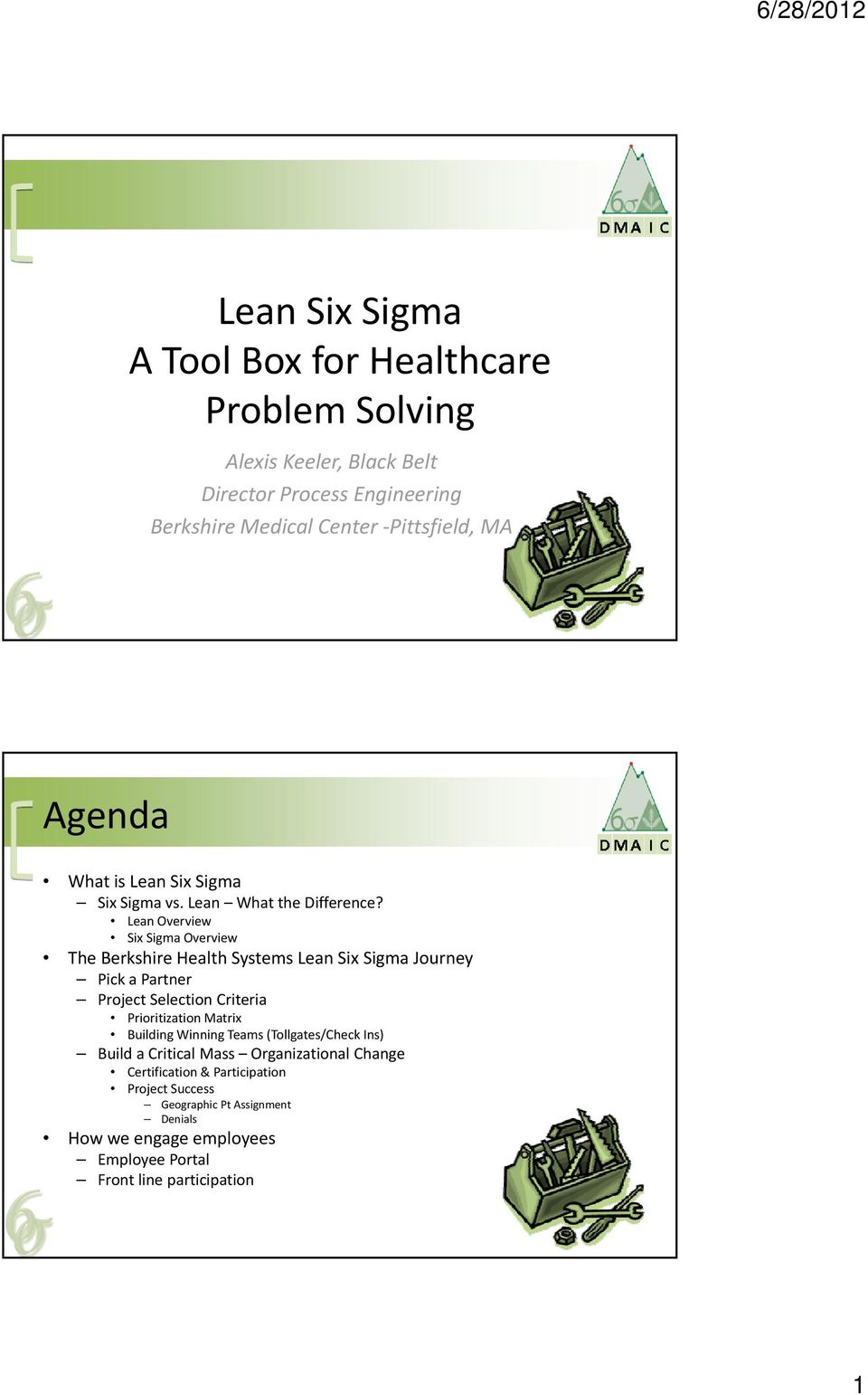 Lean Overview Six Sigma Overview The Berkshire Health Systems Lean Six Sigma Journey Pick a Partner Project Selection Criteria Prioritization Matrix