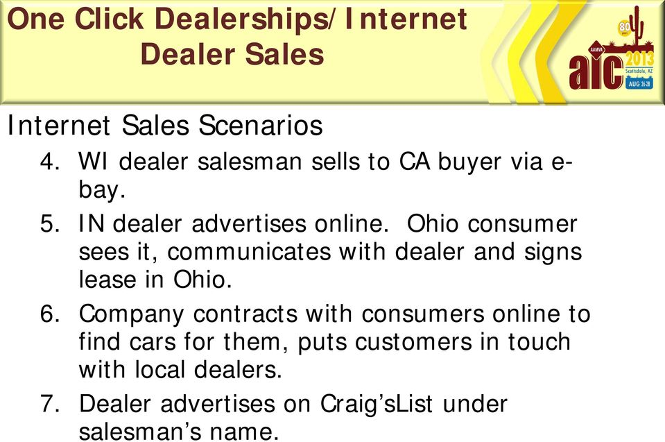 Ohio consumer sees it, communicates with dealer and signs lease in Ohio. 6.