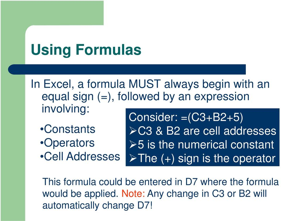 the numerical constant Cell Addresses The (+) sign is the operator This formula could be