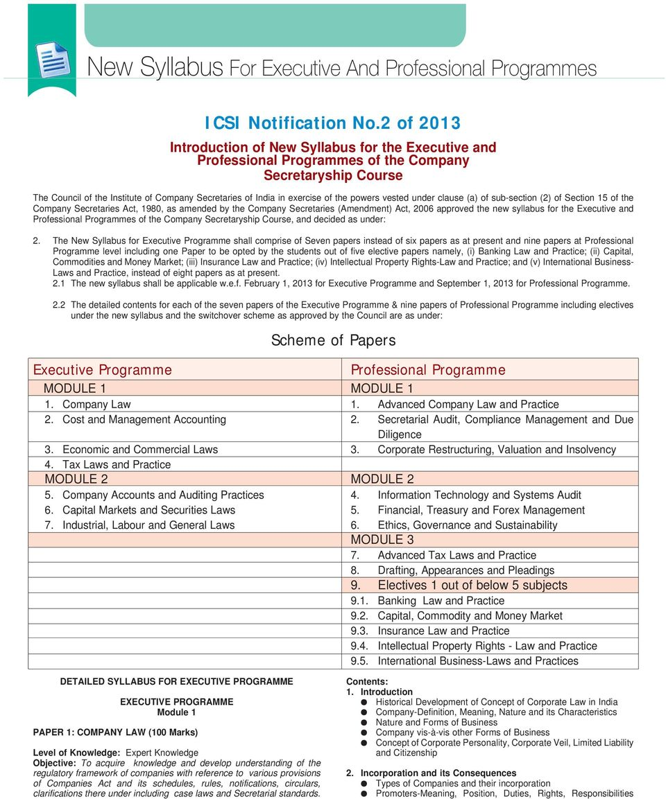 New Syllabus For Executive And Professional Programmes Pdf