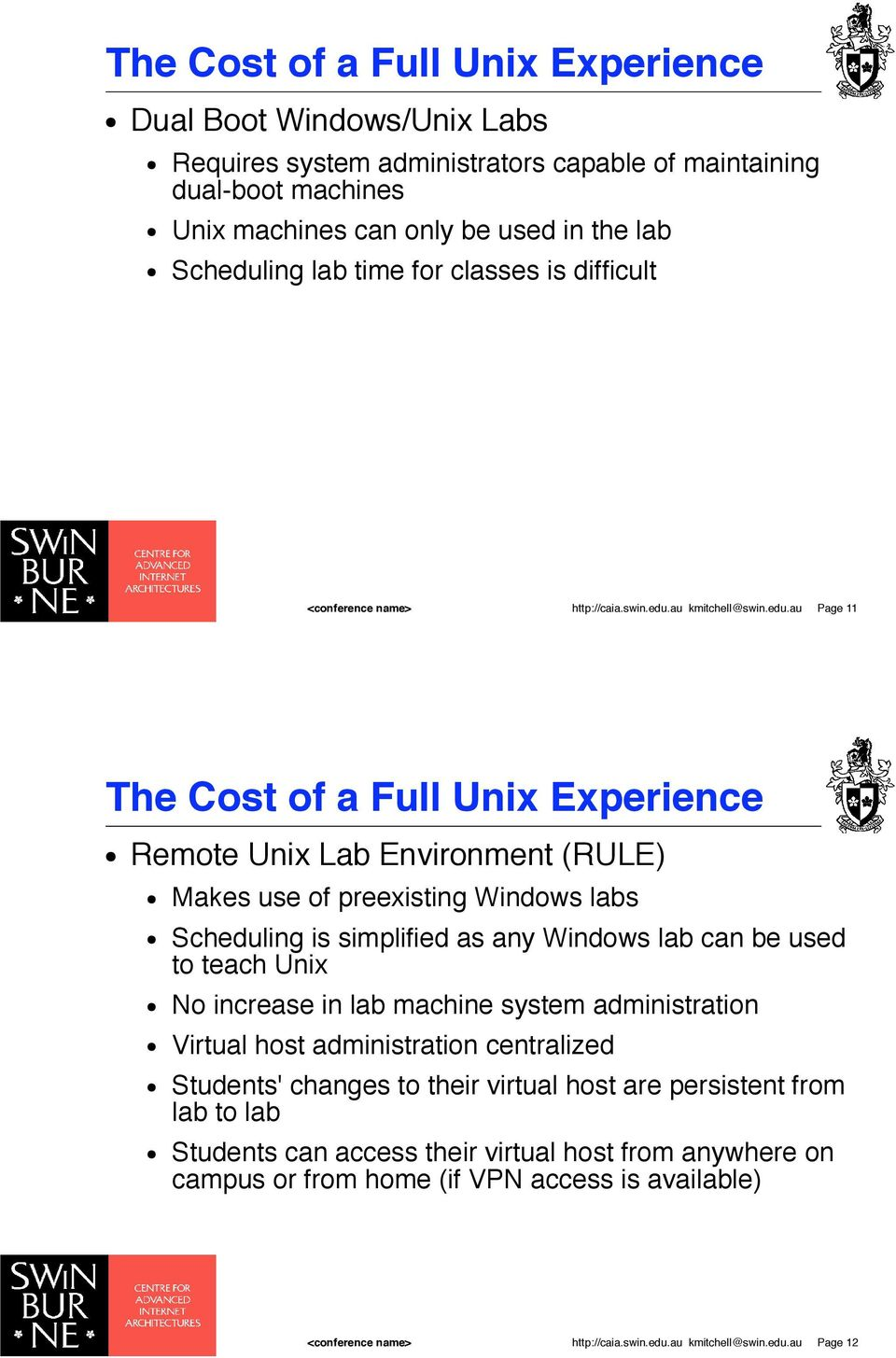 Makes use of preexisting Windows labs! Scheduling is simplified as any Windows lab can be used to teach Unix! No increase in lab machine system administration!
