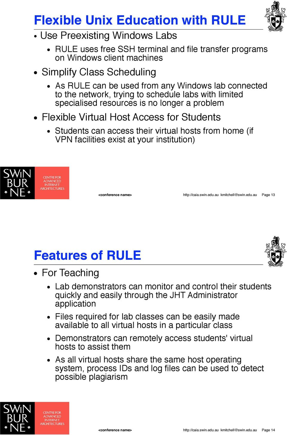 Students can access their virtual hosts from home (if VPN facilities exist at your institution) http://caia.swin.edu.au kmitchell@swin.edu.au Page 13 Features of RULE! For Teaching!