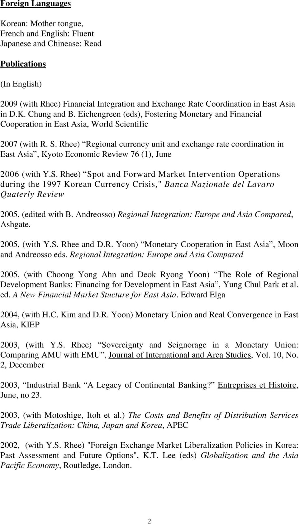 "ientific 2007 (with R. S. Rhee) Regional currency unit and exchange rate coordination in East Asia, Kyoto Economic Review 76 (1), June 2006 (with Y.S. Rhee) Spot and Forward Market Intervention Operations during the 1997 Korean Currency Crisis,"" Banca Nazionale del Lavaro Quaterly Review 2005, (edited with B."