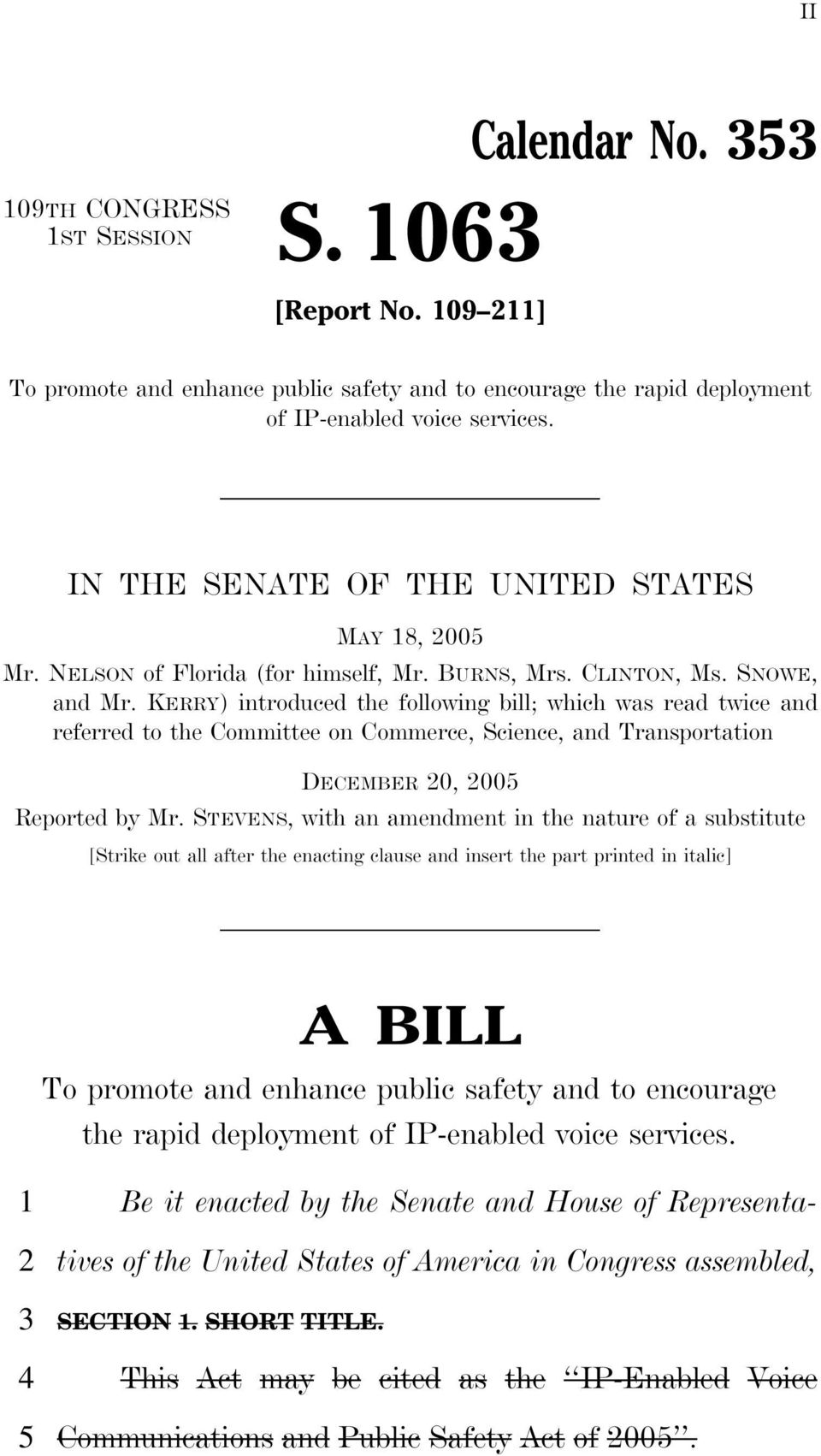 KERRY) introduced the following bill; which was read twice and referred to the Committee on Commerce, Science, and Transportation DECEMBER 0, 00 Reported by Mr.