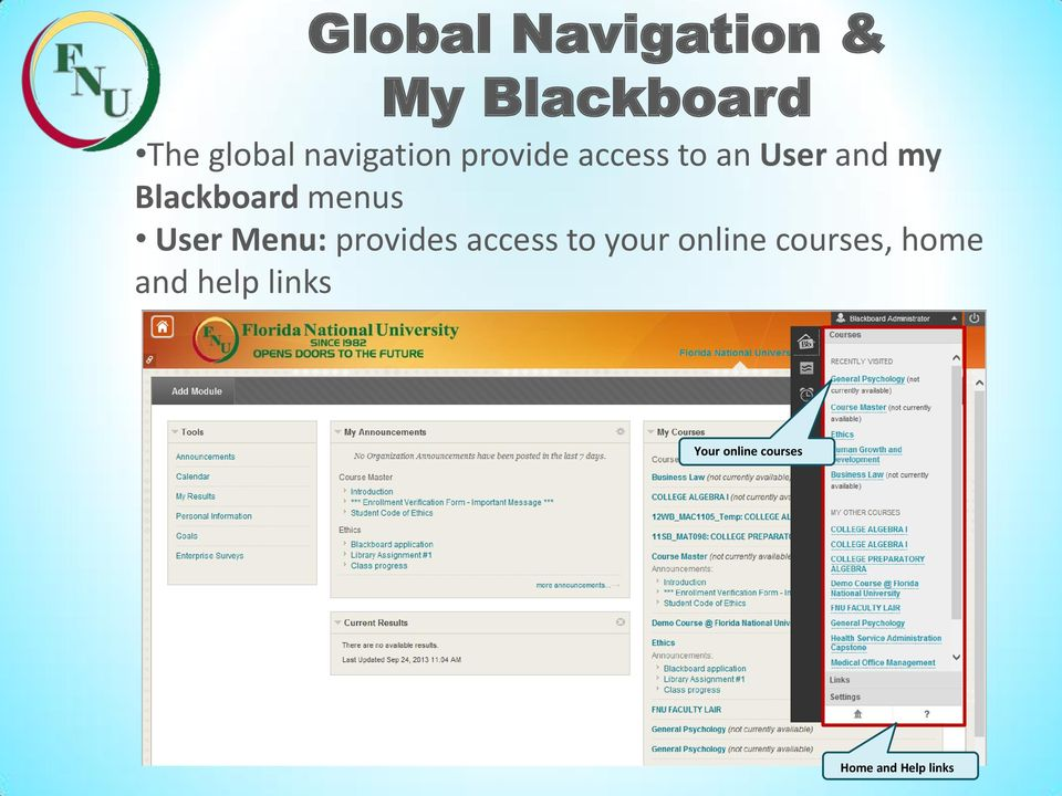 Blackboard menus User Menu: provides access to your