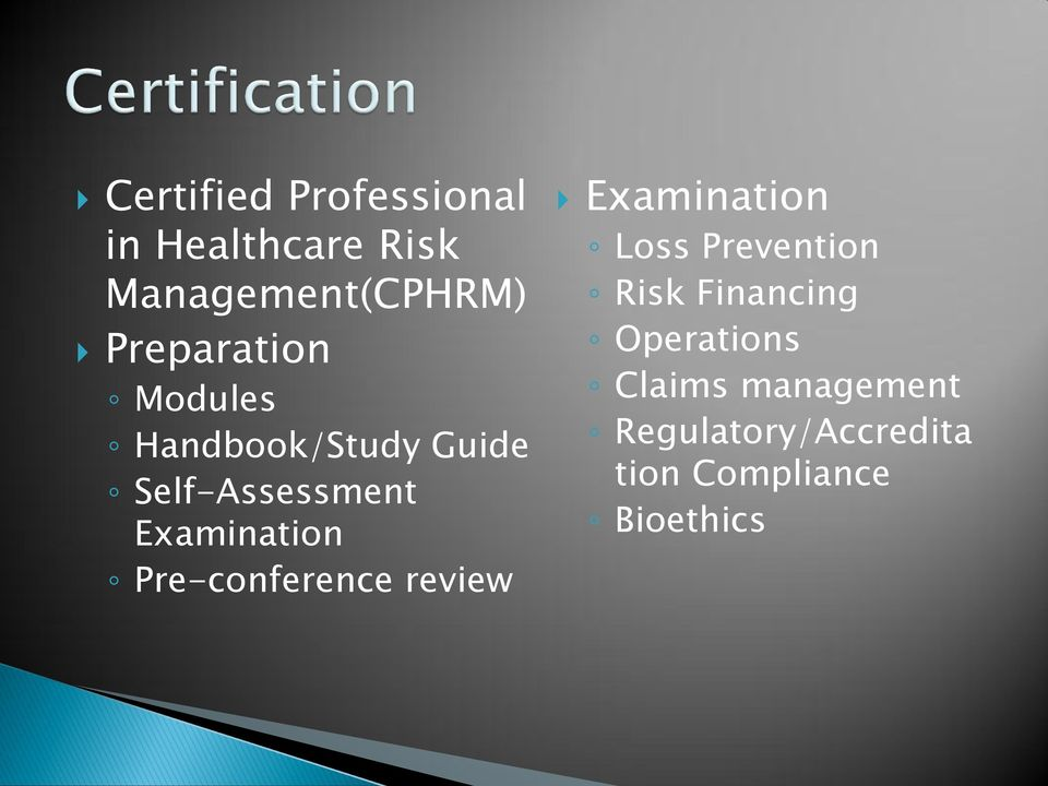 Examination Pre-conference review Examination Loss Prevention Risk