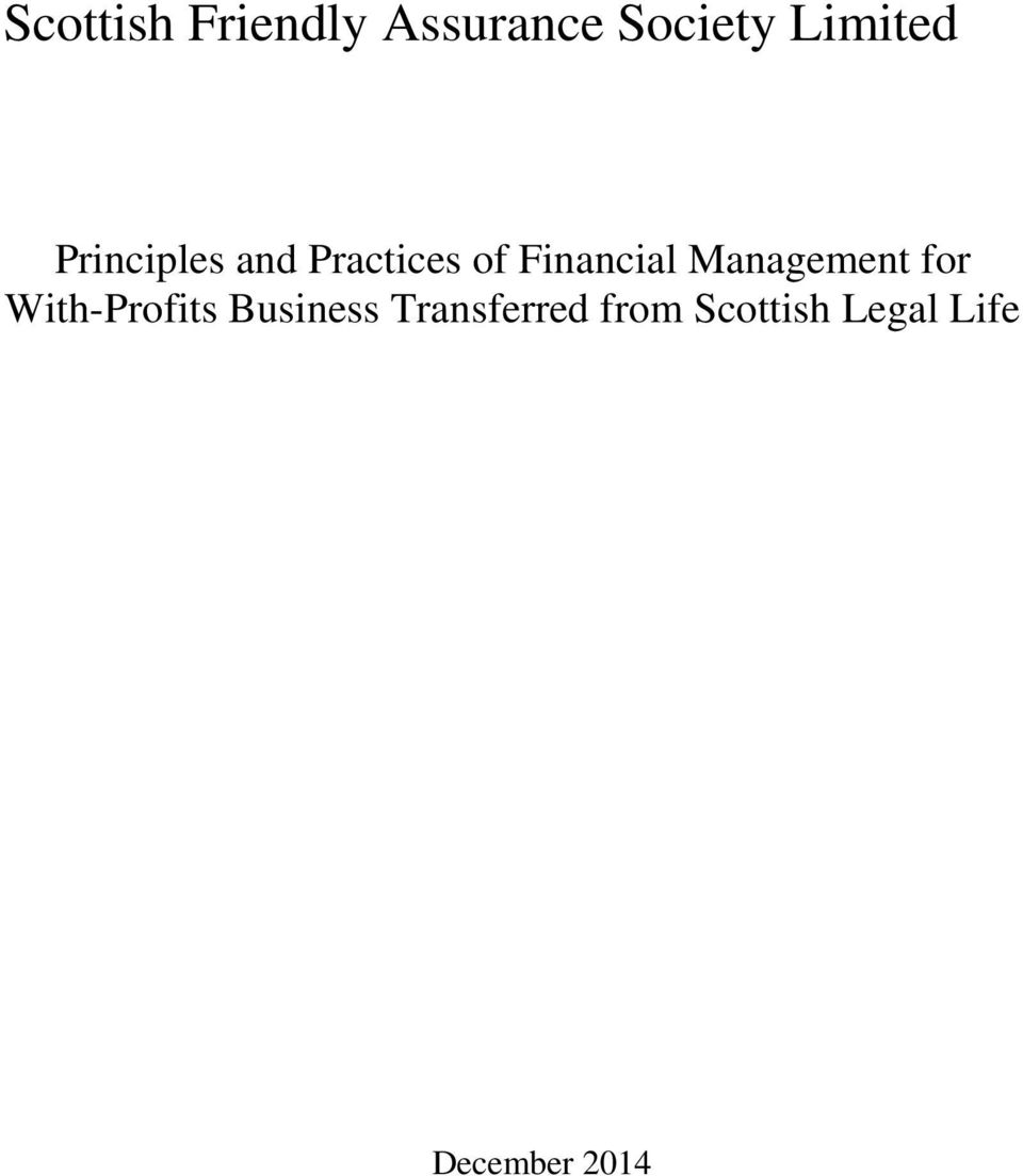 Financial Management for With-Profits