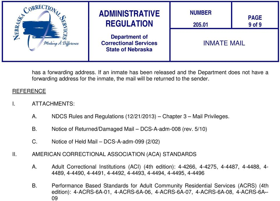 AMERICAN CORRECTIONAL ASSOCIATION (ACA) STANDARDS A.