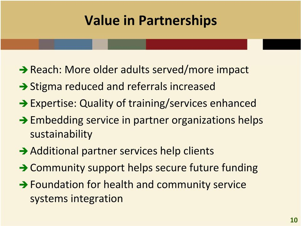 partner organizations helps sustainability Additional partner services help clients