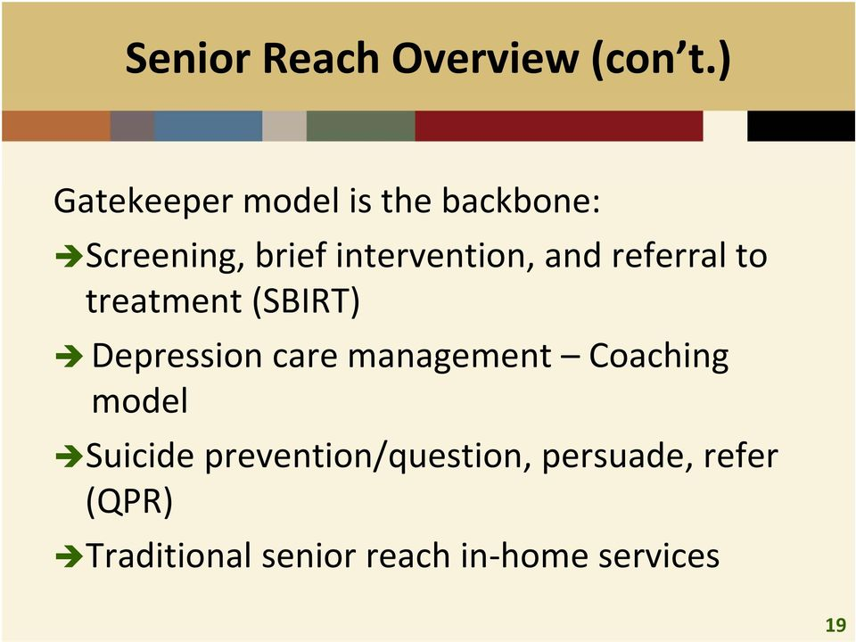 and referral to treatment (SBIRT) Depression care management