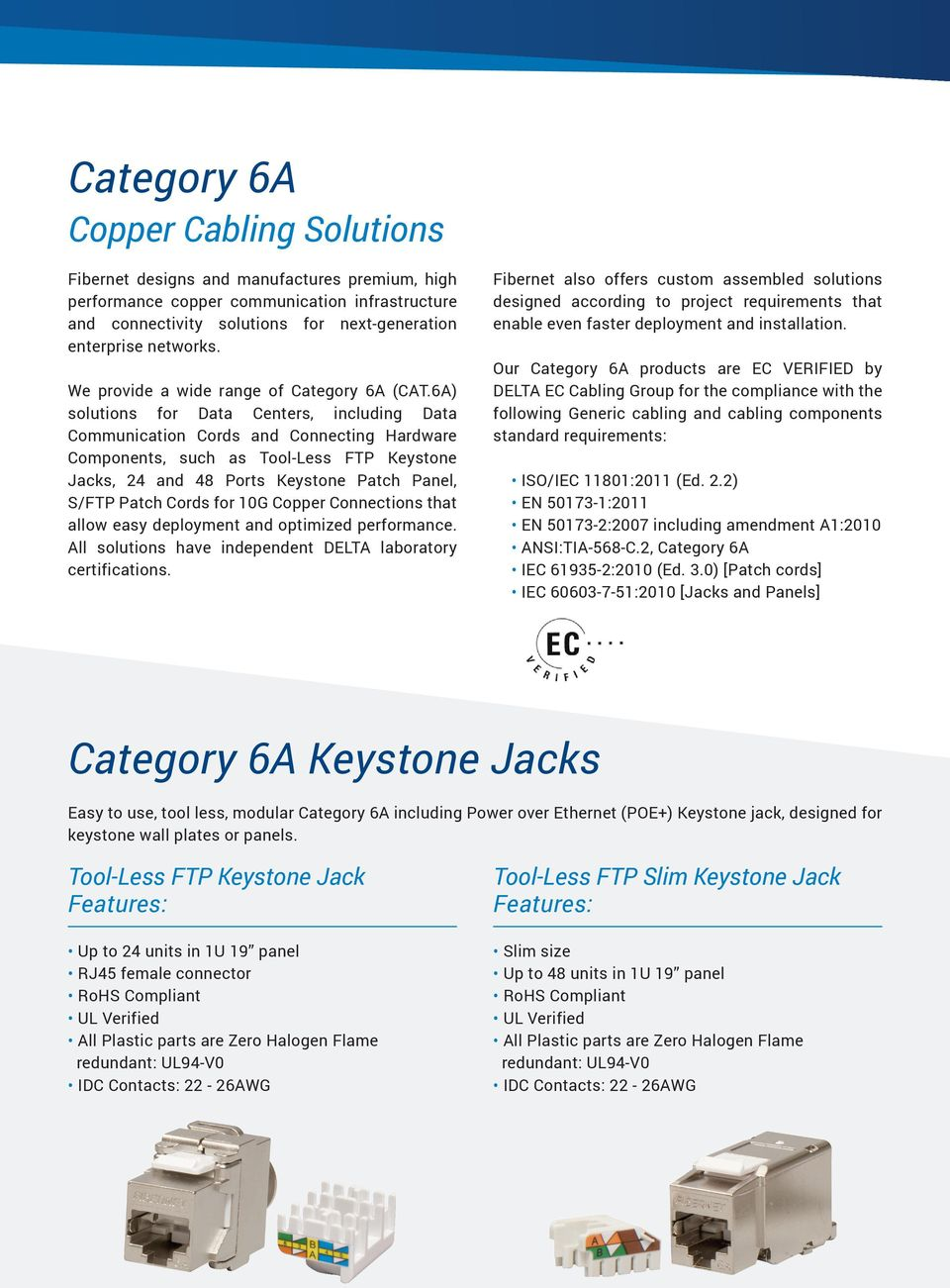 6A) solutions for Data Centers, including Data Communication Cords and Connecting Hardware Components, such as Tool-Less FTP Keystone Jacks, 24 and 48 Ports Keystone Patch Panel, S/FTP Patch Cords