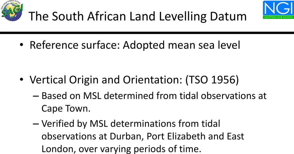 tidal observations at Cape Town.