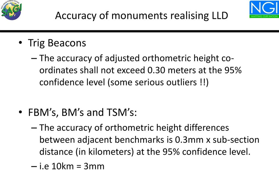 !) FBM s, BM s and TSM s: The accuracy of orthometric height differences between adjacent
