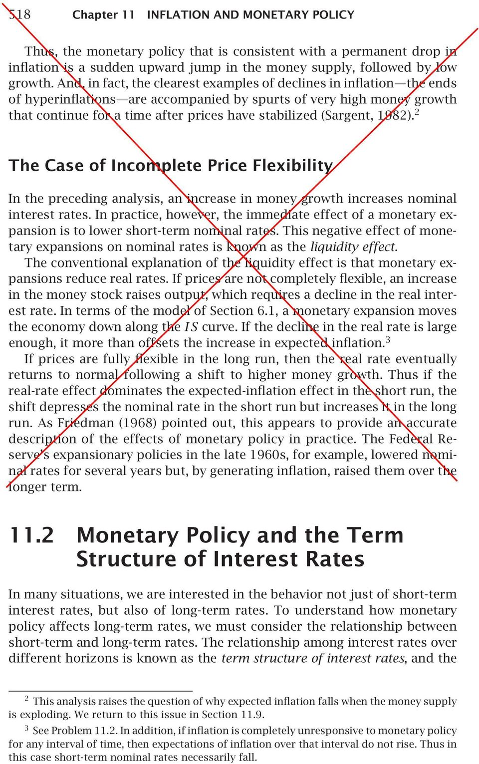 (Sargent, 1982). 2 The Case of Incomplete Price Flexibility In the preceding analysis, an increase in money growth increases nominal interest rates.