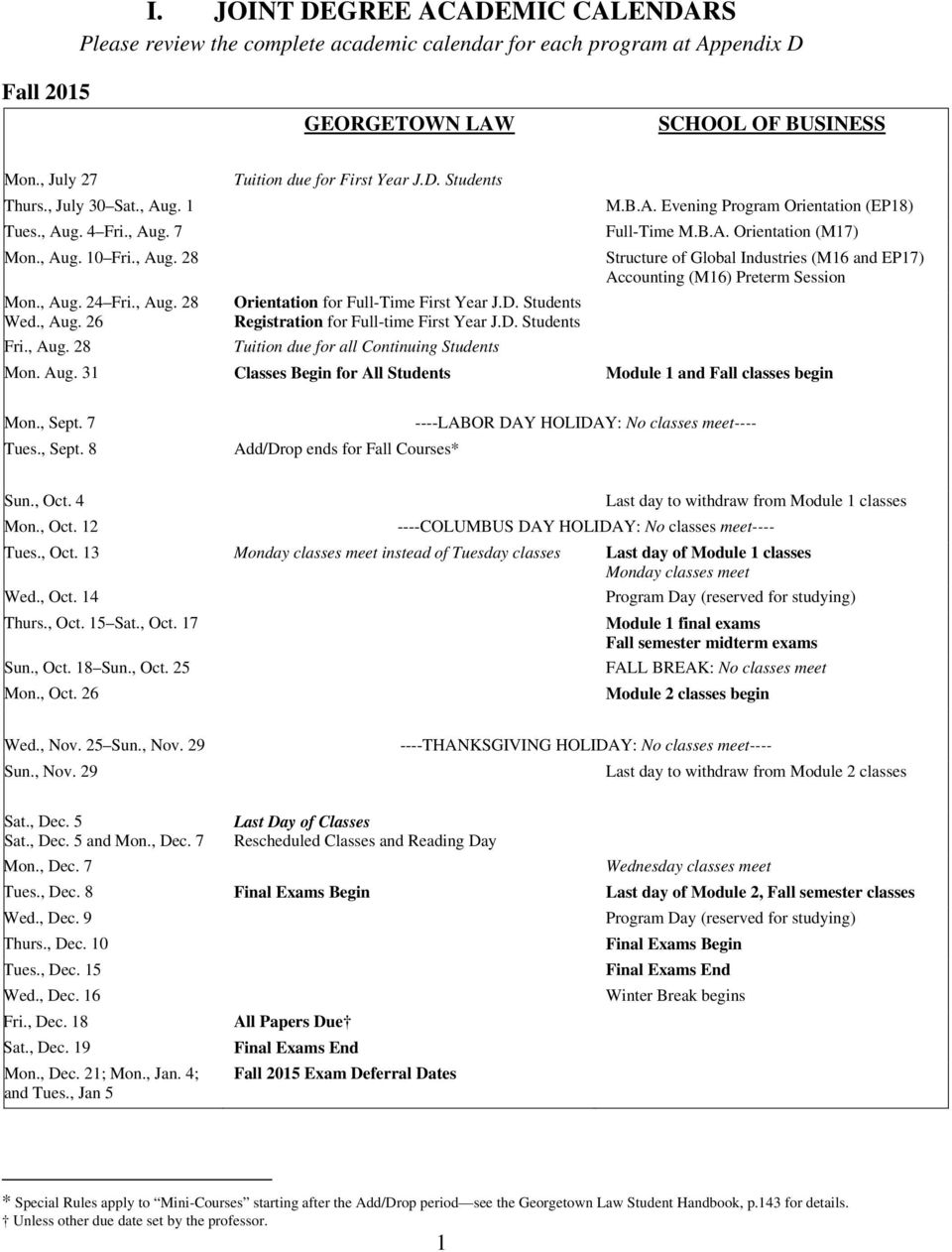 Academic Calendar Georgetown.J D M B A Master Of Business Administration Joint Degree Student