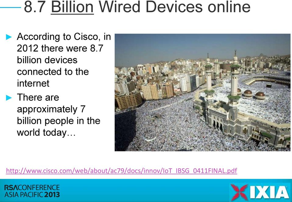 7 billion devices connected to the internet There are