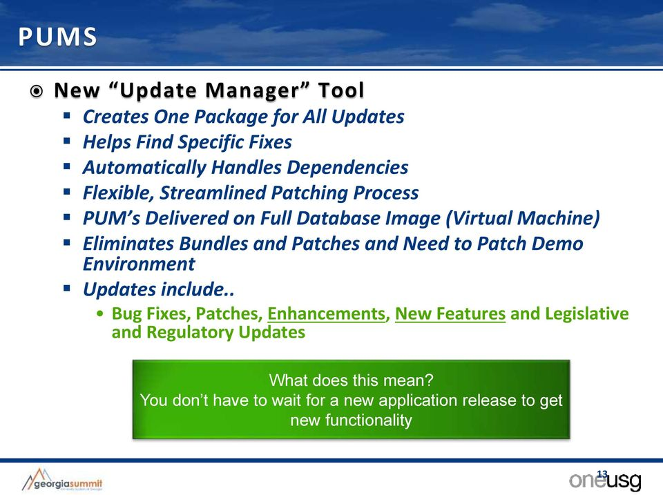 Bundles and Patches and Need to Patch Demo Environment Updates include.