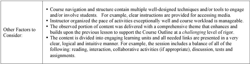 The observed portion of content was delivered with a comprehensive theme that enhances and builds upon the previous lesson to support the Course Outline at a challenging level of rigor.