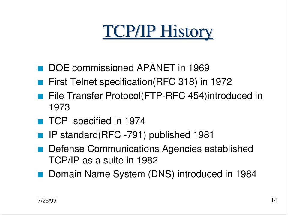 in 1974 IP standard(rfc -791) published 1981 Defense Communications Agencies