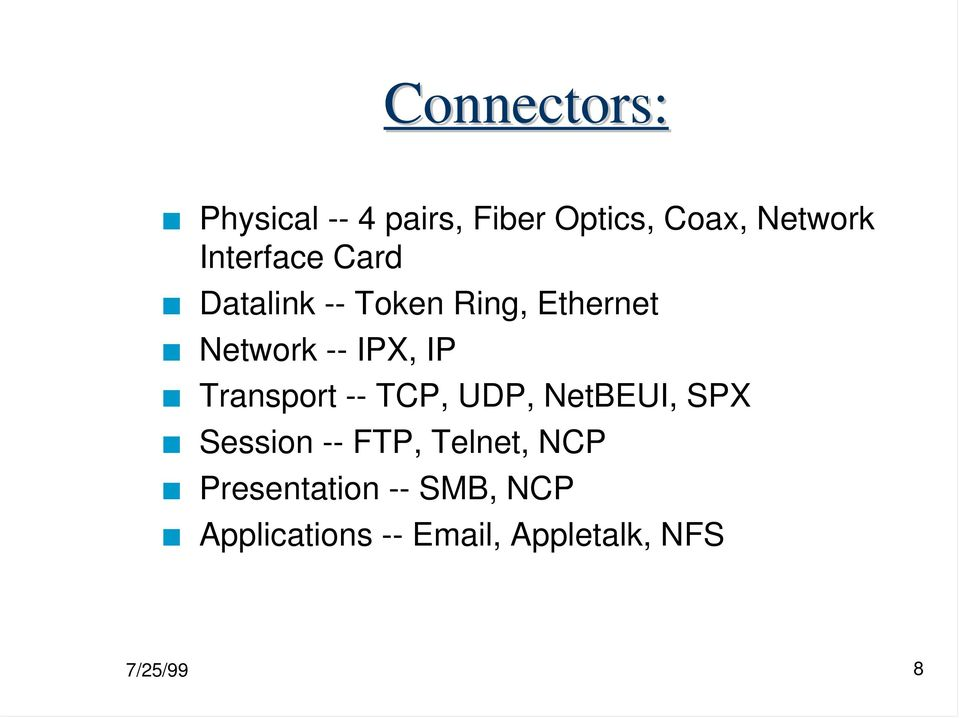 IP Transport -- TCP, UDP, NetBEUI, SPX Session -- FTP, Telnet,
