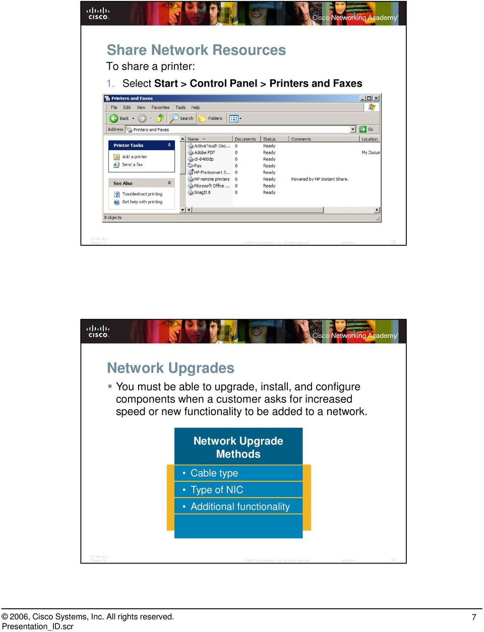Use the Add Printers wizard to find and install the shared network printer 13 Network Upgrades You must be able to upgrade, install, and configure