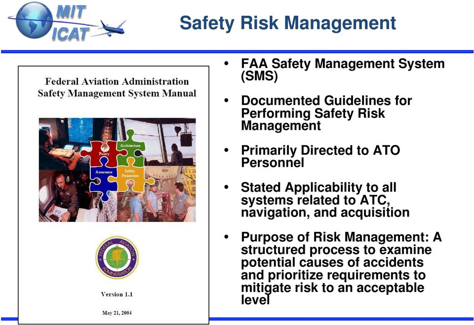 related to ATC, navigation, and acquisition Purpose of Risk Management: A structured process to