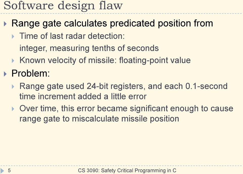 Problem: Range gate used 24-bit registers, and each 0.