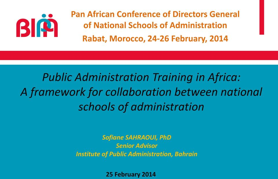 framework for collaboration between national schools of administration Sofiane
