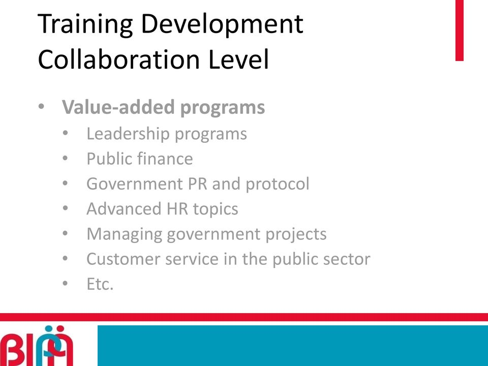 Government PR and protocol Advanced HR topics