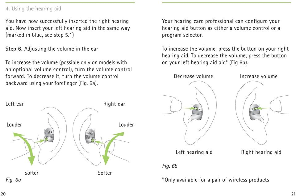 To decrease it, turn the volume control backward using your forefinger (Fig. 6a). Your hearing care professional can configure your hearing aid button as either a volume control or a program selector.