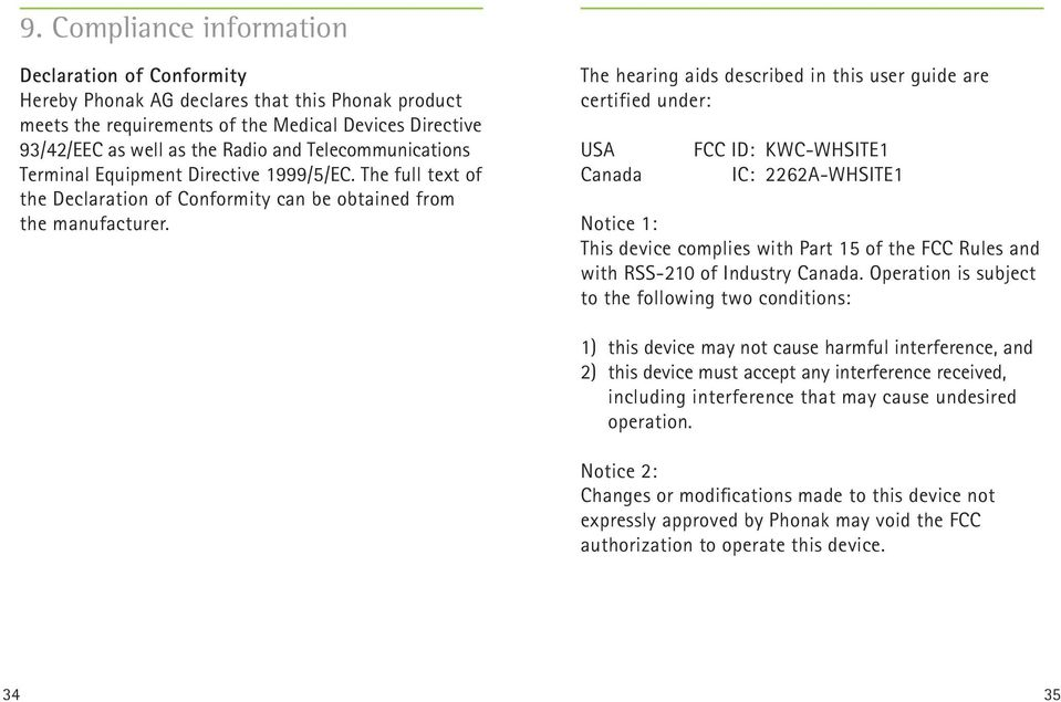 The hearing aids described in this user guide are certified under: USA Canada FCC ID: KWC-WHSITE1 IC: 2262A-WHSITE1 Notice 1: This device complies with Part 15 of the FCC Rules and with RSS-210 of